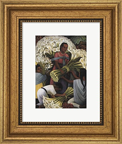 Flower Vendor by Diego Rivera Framed Art Print Wall Picture, Wide Gold Frame, 11 x 13 inches