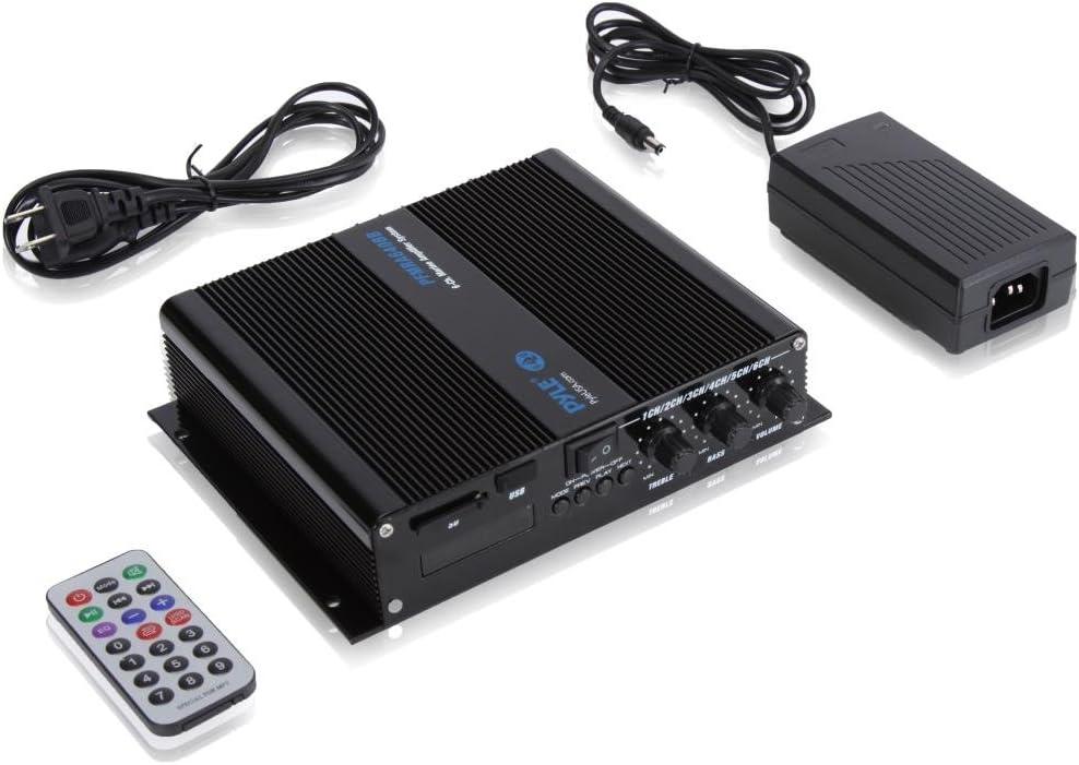Wireless Bluetooth Receiver Speaker /& LCD Digital Screen PFMRA640BB Pyle 6-Channel Audio Marine Amplifier Compact Power 600 Watt RMS 4 OHM Full Range Stereo with Volume Bass Treble Rotary Control