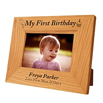 Engraved 1st Birthday Oak Frame For Girl Special Gift Idea Baby Personalised Keepsake Amazoncouk