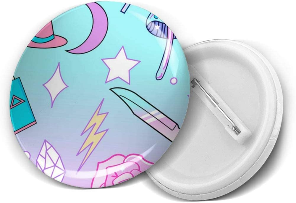 YXXZ Girly Pastel Goth Witch Pattern Round Badge Brooches and Pins Accessories Multiple Packs