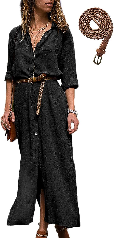 TALLA ES S/CN S. Mujer Vestidos Largos Casual Camiseros Manga Larga Botón Lateral De Hendidura Vestido De Fiesta Black ES S/CN S