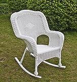 International Caravan 3182-1CH-WT-IC Furniture Piece Camelback Resin Wicker Rocker, White