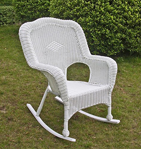 International Caravan 3182-1CH-WT-IC Furniture Piece Camelback Resin Wicker Rocker, White
