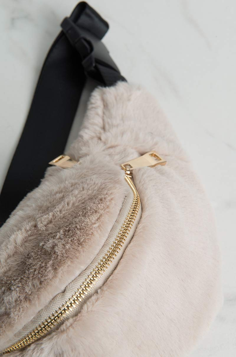 AKIRA Womens Faux Fur Fluffy Zip Front Buckle Strap Fanny Pack Waistbag-TAUPE/_O//S