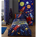 SPACE ROCKETS PLANETS STARS BLUE COTTON BLEND CANADIAN TWIN (COMFORTER COVER 135 X 200 - UK SINGLE) (FITTED SHEET - 90 X 190CM + 25 - UK SINGLE) 3 PIECE BEDDING SET