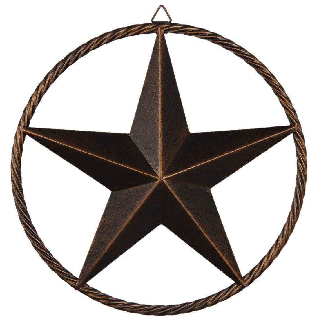 EBEI Texas Barn Star Circle Rustic Style Metal Decorative 12'' Vintage Metal Texas Lone Star Dark Brown Western Home Decor
