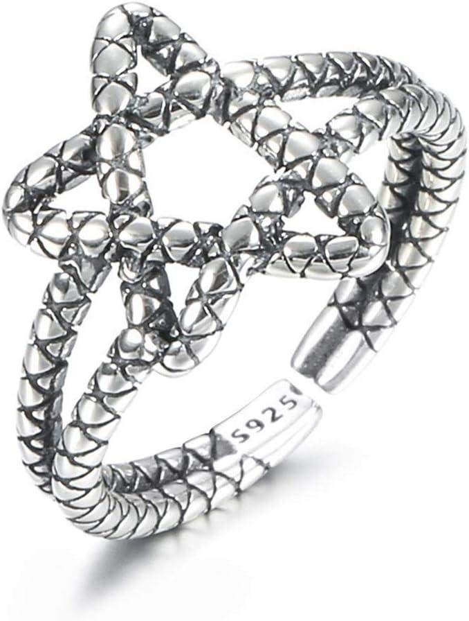 NOBRAND Estilo S925 Plata de Cinco Puntas nicho Sencillo Anillo luz Ajustable Anillo de Las Mujeres Anillo de Estrellas Partido Jewelr (Color : Silver)