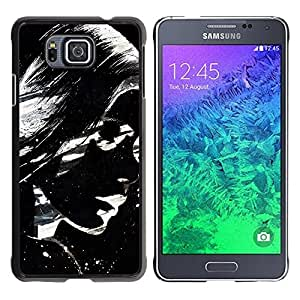 LECELL -- Funda protectora / Cubierta / Piel For Samsung GALAXY ALPHA G850 -- Cool Awesome Black & White Girl --
