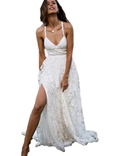 Z Sexy Side Slit Beach Bridal Wedding Gowns Sweetheart Lace Boho Wedding Dresses For