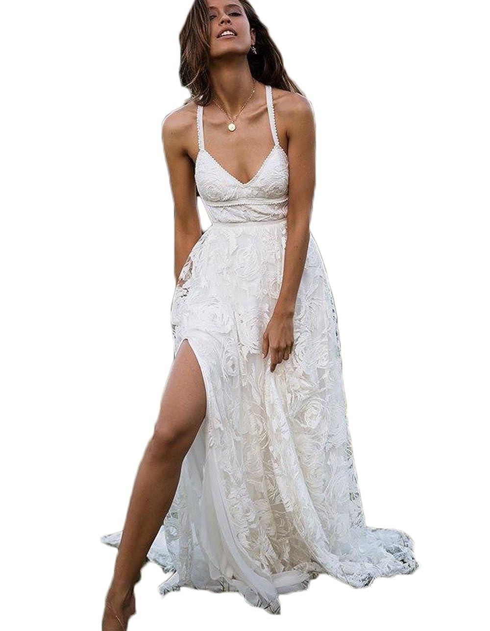 Alilithz Sexy Split Lace Wedding Dresses Bride Beach Bridal Wedding