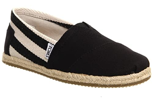 b8300d0e80b Toms Classic University Black Stripes Womens Canvas Espadrille Shoes  Slipons-3