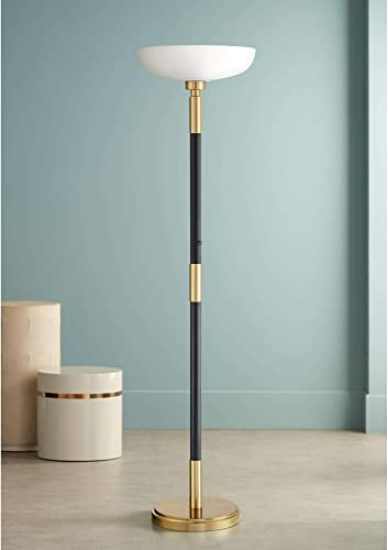 Cameron Light Blaster Modern Torchiere Floor Lamp LED Antique Brass and Matte Black Opal Glass Bowl
