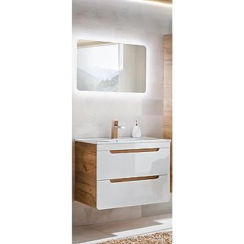 Lomadox Badezimmer Waschplatz Set 80 cm 2-teilig Hochglanz weiß inkl ...