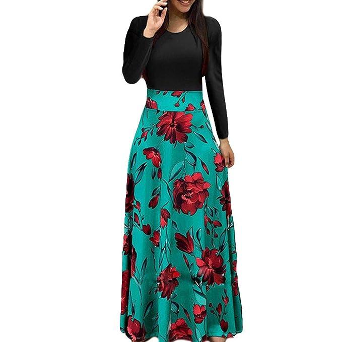 Sylar Vestidos Invierno Mujer Moda Estampado Rose Cuello Redondo Costura Manga Larga Casual Suelto Falda Larga Vestido para Noche: Amazon.es: Ropa y ...