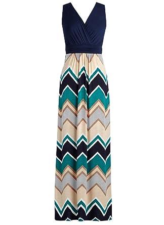 a61b85b1fee Zattcas Womens Contrast Sleeveless Empire Chevron Striped Maxi Long Dress …  Navy Gray