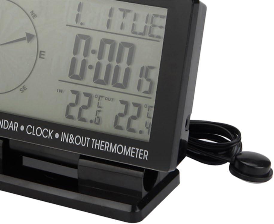 Homyl Car Digital Compass Large LCD Display Blue LED Backlight with Clock Temperature Calendar Display
