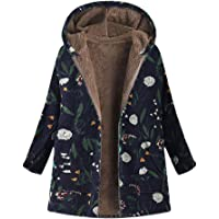 Clearance! Sunfei Plus Size Womens Winter Warm Outwear Floral Print Hooded Pockets Vintage Oversize Coats