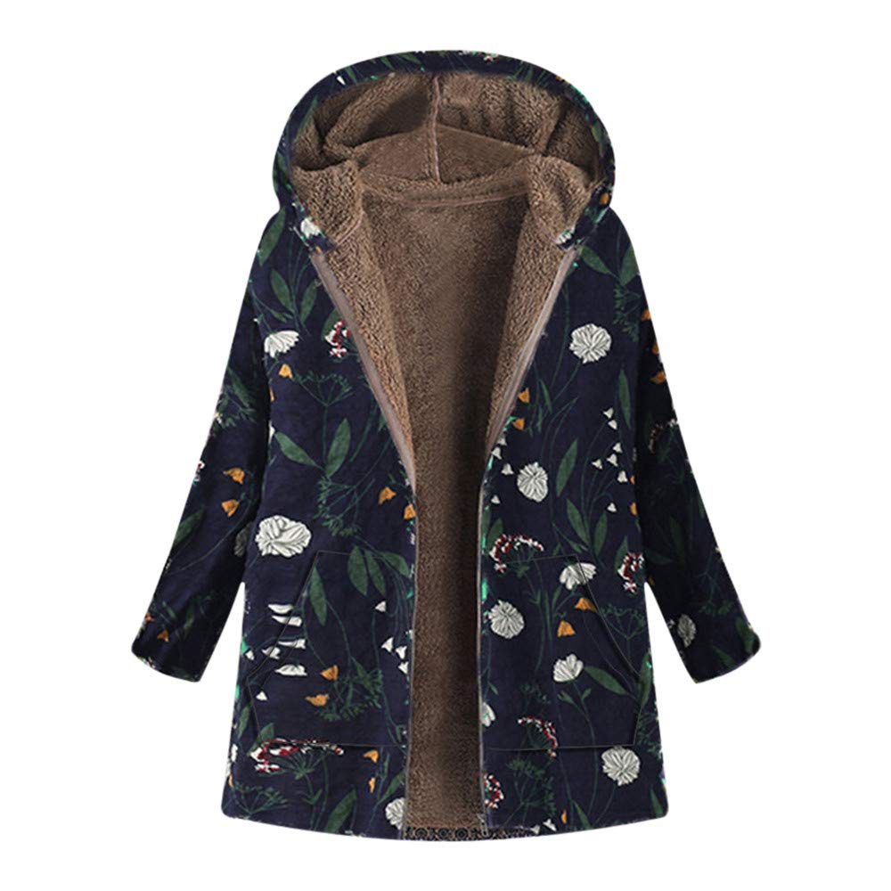 Oliviavan, Damen Winter Warm Outwear Blumendruck mit Kapuze Taschen Vintage Oversize Coats Hoher Baumwollanteil Muster Winterparka Lange Winterjacke