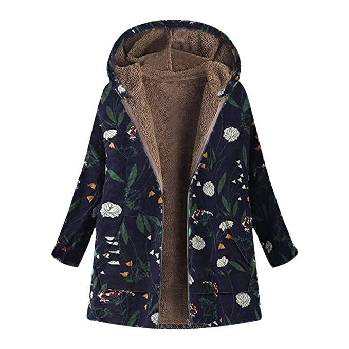 71edbb5d3 Clearance! Sunfei Plus Size Womens Winter Warm Outwear Floral Print Hooded  Pockets Vintage Oversize Coats