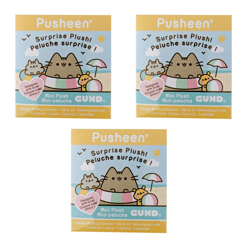GUND Pusheen Plush Surprise Box Series #10 - Lazy Summer, 3-Pack Bundle by GUND