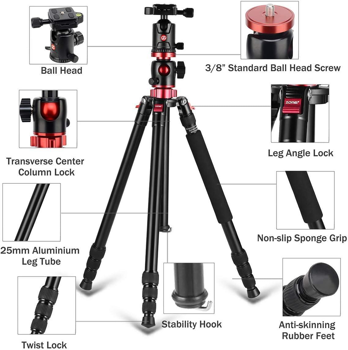 professionelles Aluminium horizontales Stativ mit Verl/ängerungsarm Einbeinstativ 360/°-Kugelkopf und 90/° drehbare Mittels/äule f/ür Canon Nikon DSLR DV Scope Camcorder Projektor ZOMEi M8 Kamerastativ