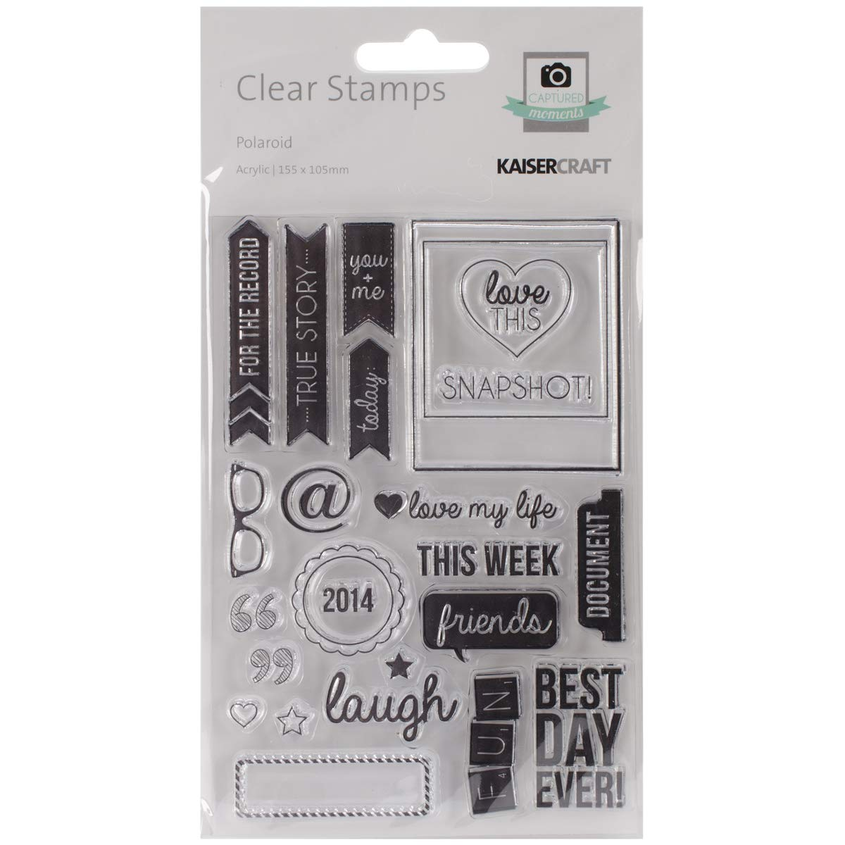 Captured Moments Collection Clear Acrylic Stamps Polaroid (8 Pack)