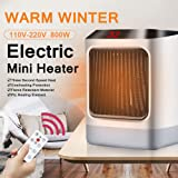 Space Heater, 800W Electric Heater Portable Small Space Heaters for Office Home Room Indoor Use, Adjustable Temperature with Remote Control, Built-in Timer and LED night light