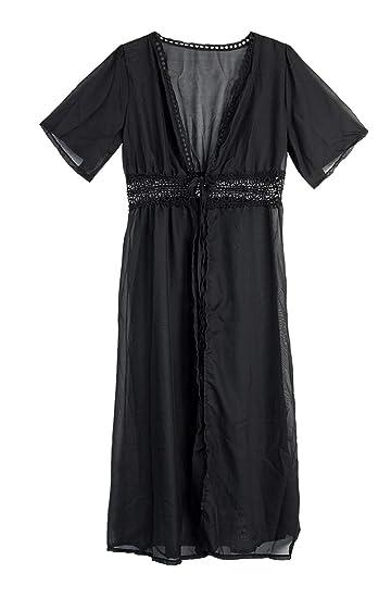 4dbdfec341 SUNSIOM Women's Chiffon Kimono Cardigan Lace Long Maxi Beach Dress Bikini  Covers Up (Black,