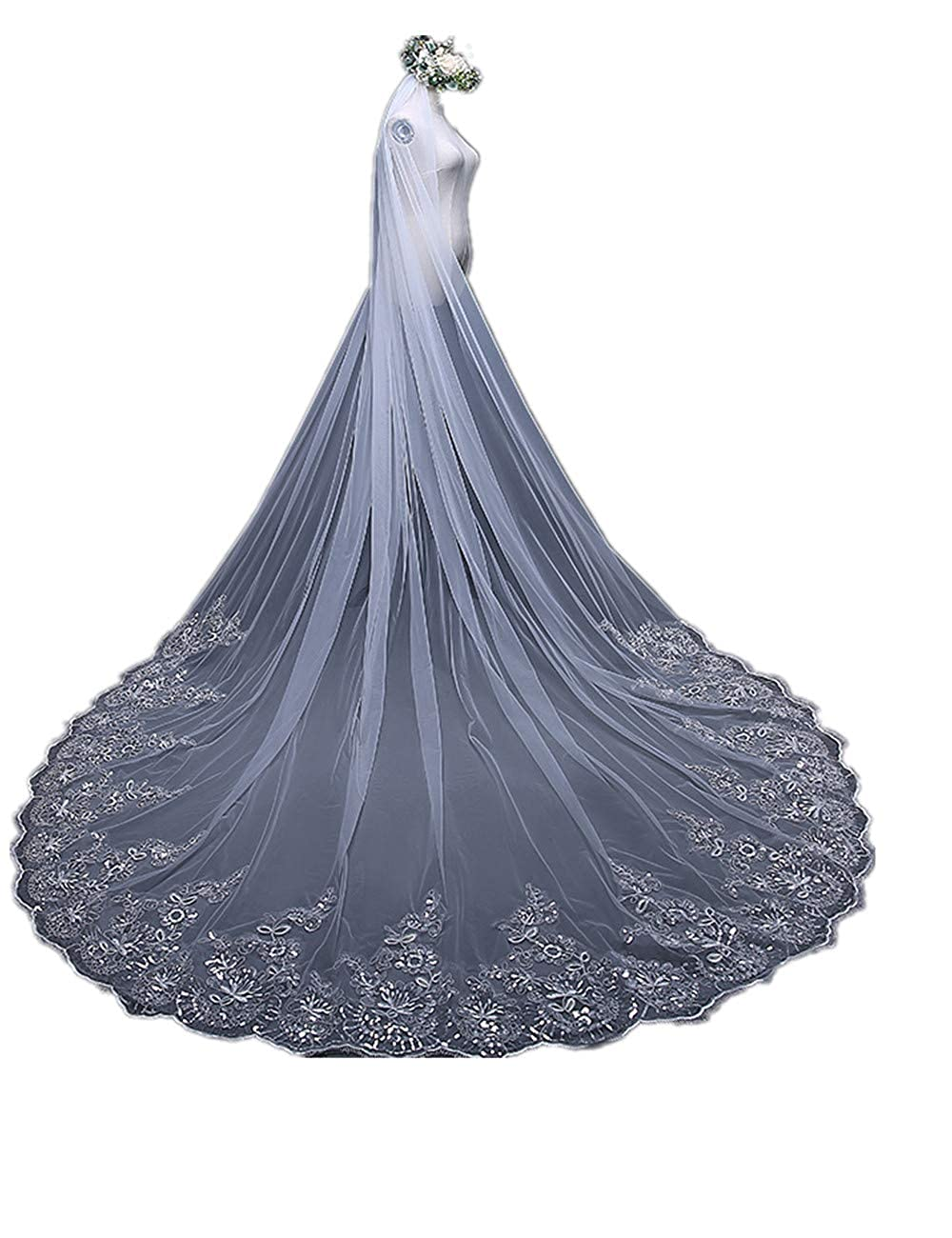 Stylish Tulle Cape Veil Cathedral Length Lace From Shoulder to Floor For Bridal 2018