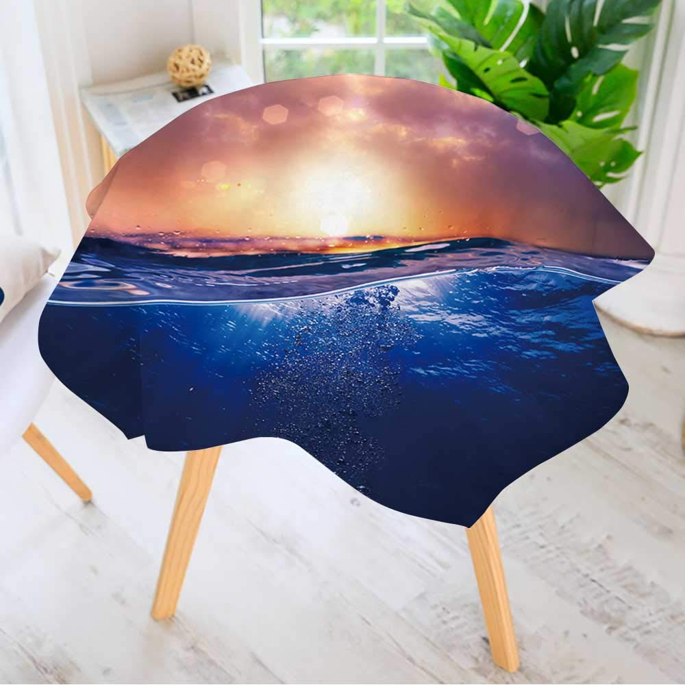 "Leighhome Printed Pattern Washable Table Cloth - Design Template with Underwater Part and Sunset Skylight Splitted by Waterline Dinner Kitchen Home Decor 55"" Round"