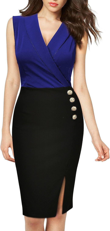Missmay Womens Half Sleeve Navy Style Business Cocktail Pencil Dress