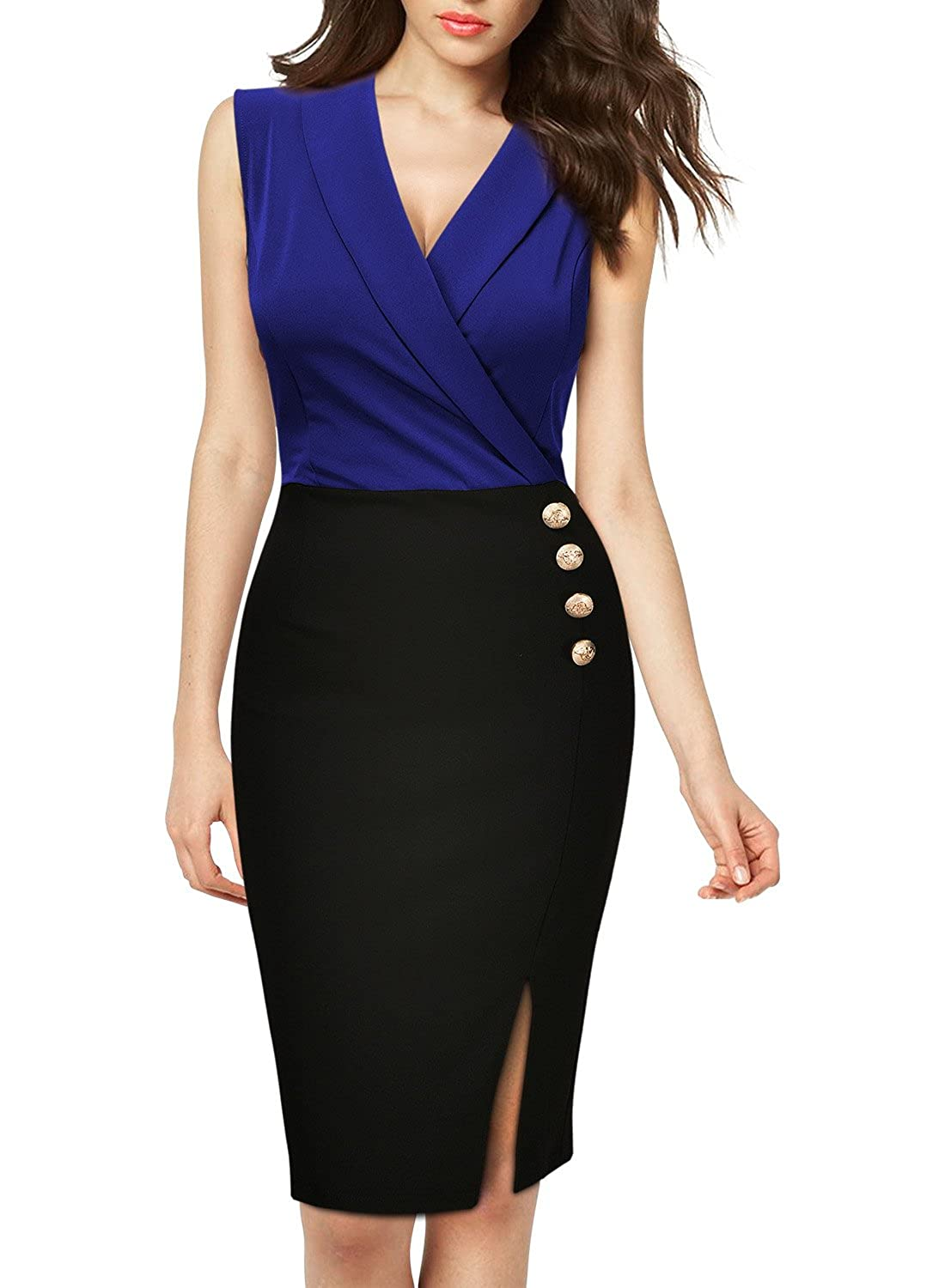 MissMay Women\'s Workwear Business Lapel Sleeveless Cocktail Party ...