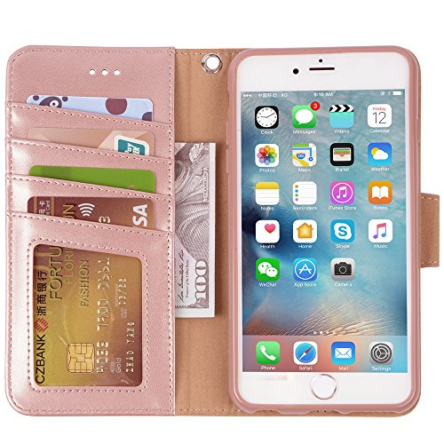 Arae Wallet case for iPhone 6s Plus/iPhone 6 Plus [Kickstand Feature] PU Leather with ID&Credit Card Pockets for iPhone 6 Plus / 6S Plus 5.5'' (not for 6/6s) (Rosegold) by Arae (Image #3)