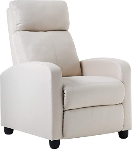 Recliner Chair for Living Room Recliner Sofa Reading Chair Winback Single Sofa Modern Reclining Chair Home Theater Seating Easy Lounge with Fabric Padded Seat Backrest Fabric Beige