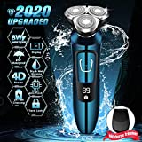 Electric Razor, Electric Shavers for Men, Dry Wet Waterproof Mens rotary facial shaver, Portable Face Shaver Cordless Travel USB Rechargeable with Beard Trimmer LED Display for Shaving Husband Dad
