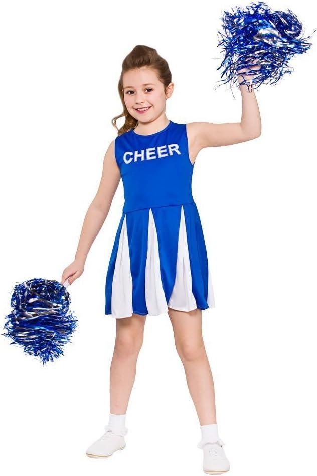 Chicas Cheerleader - Traje de disfraz azul Grande 8/10 Años ...