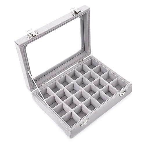 Ivosmart 24 Section Velvet Glass Jewelry Ring Display Organiser Box Tray Holder  Earrings Storage Case (