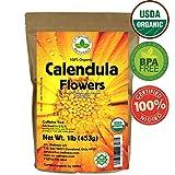 Calendula Tea 1LB (16Oz) 100% CERTIFIED Organic Whole Flower Calendula Herbal Tea (Calendula Officinalis), Caffeine Free in 1 lbs. Bulk Resealable Kraft BPA free Bags from U.S. Wellness For Sale