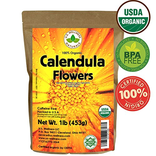 Calendula Tea 1LB (16Oz) 100% CERTIFIED Organic Whole Flower Calendula Herbal Tea (Calendula Officinalis), Caffeine Free in 1 lbs. Bulk Resealable Kraft BPA free Bags from U.S. Wellness (Dried Flowers Herbs)