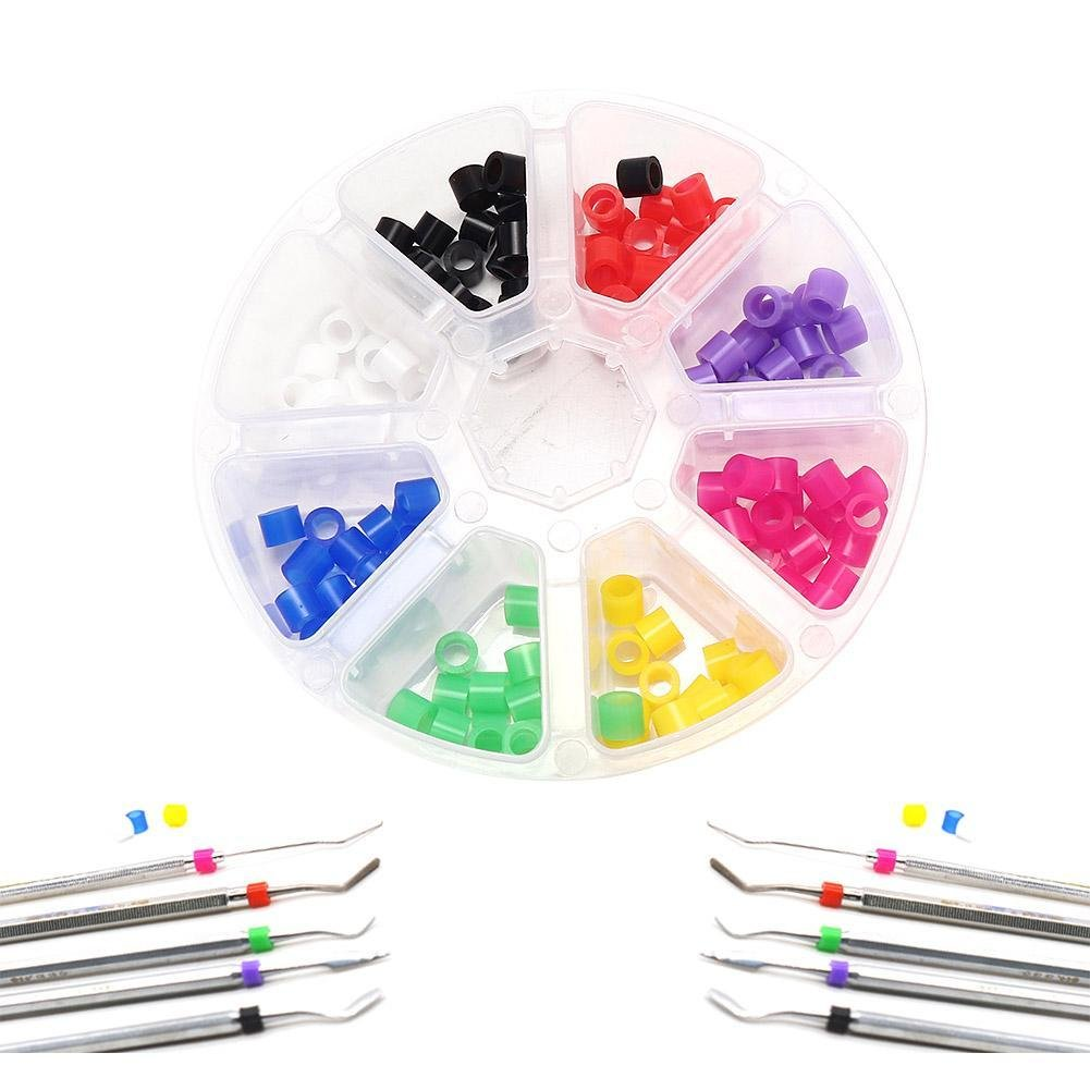 Gracefulvara 160pcs Silicone Dental Instrument Color Code Rings