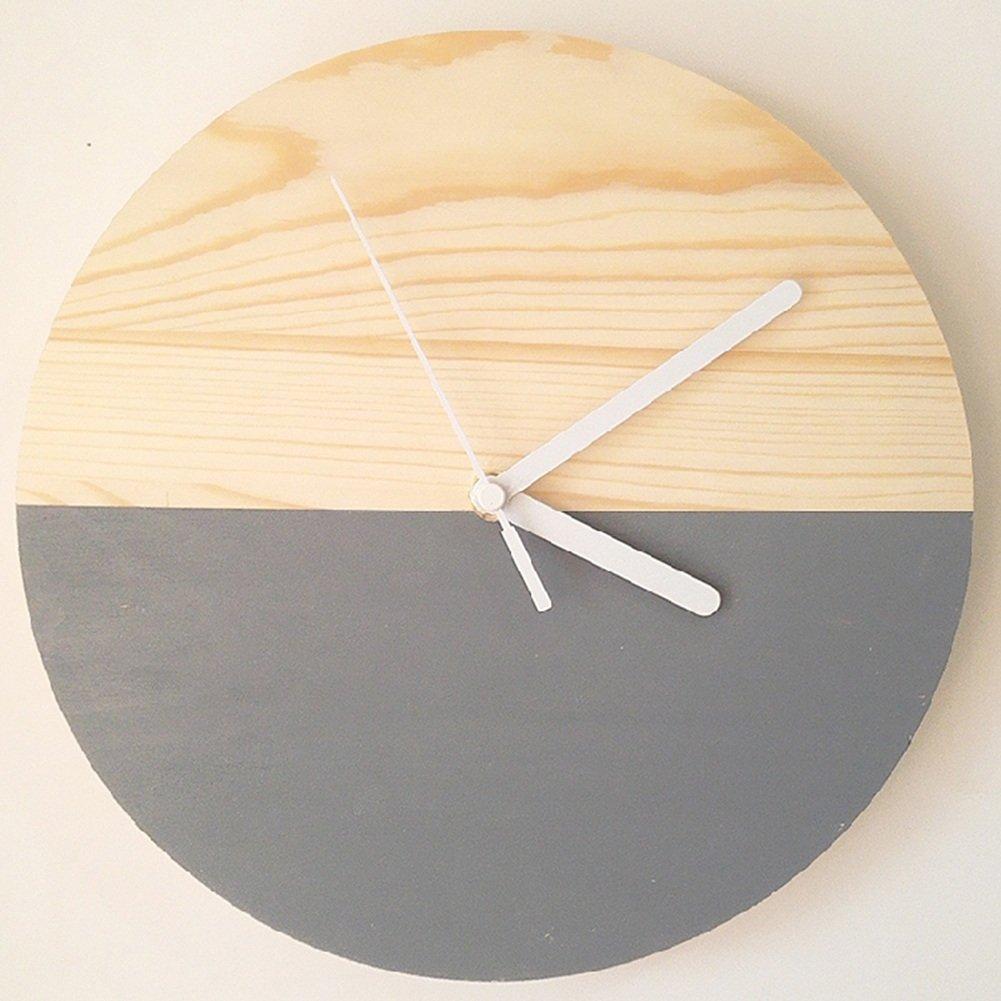 Horloge en bois nordique, Horloge murale simple en bois, Chambre horloge quartz silencieuse, Décoration salon Multicolor Horloge couleur 25x25cm (Couleur : Blanc) HAOJIAHAOYE