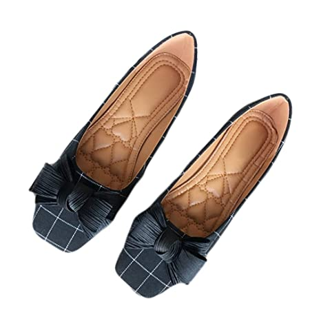 af58488ba2634 Amazon.com: August Jim Women's Flat Shoes,Square Toe Bowknot Ballet ...