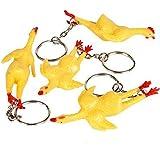 VERY Funny Joke GAG Gift NEW Rubber Stretchy Chicken Keychain Key Chain Ring