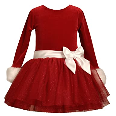 a3a594cf2baaa Bonnie Jean Baby/Infant Girls 12M-24M RED WHITE VELVET TIERED GLITTER MESH  Special