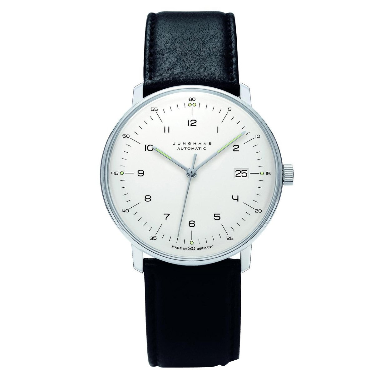Junghans Men's 'Max Bill' Automatic Stainless Steel and Leather Dress Watch, Color:Black (Model: 027/4700.00)