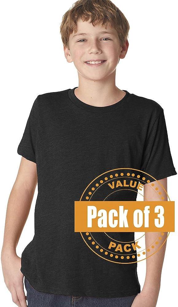 Next Level Boys Boys Tri-Blend Crew N6310-Vintage Black-Large 3 Pack