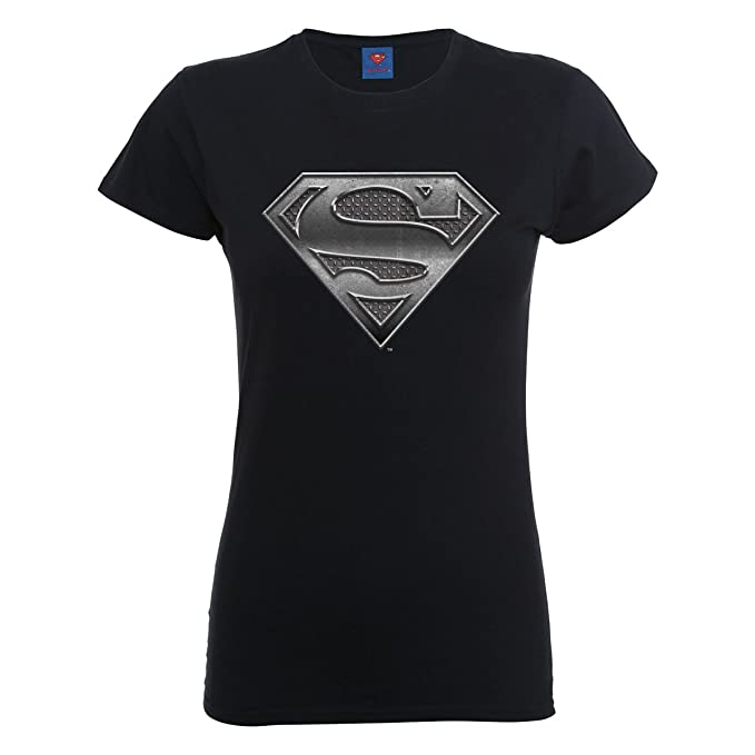 DC Comics Official Superman Steel Plate Logo Womens T-Shirt ... d52357256f658