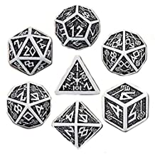 Custom & Unique {Standard Medium} 7 Ct Pack Set of [D4, D6, D8, D10, D12, D20] Assorted Polyhedral Shapes Playing & Game Dice w/ Mythical Dwarven Font Classy Design [White & Black] by mySimple Products