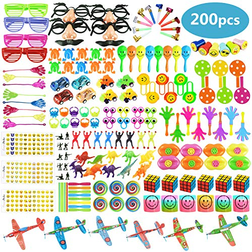 Childrens Party Favors (200 PCS Party Favors Toy Assortment for Kids,Carnival Prizes and School Classroom Rewards,Pinata Filler Toys for Kids Birthday Party,Bulk Toys Treasure Box for Boys and)