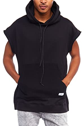09e35cb24 GENx Mens Hipster Short Sleeve Big Pocket Side Zipper Hem Hoodie KDT1005  (S, Black